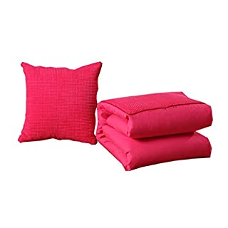 AILI-Decorative Pillowcases Active Sanding Corn Grain Pillow Quilt Dual-use Car Sofa Cushions Office Nap Pillow Air Conditioning Was Home Decoration 40 * 40cm red (Color : Rose red-m)