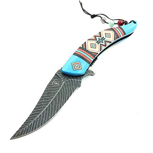 AUBEY Klappmesser Taschenmesser EDC Messer Outdoor 8CR13MOV Klinge, ABS Material Griff,Einhand Angelmesser Einhandmesser Outdoormesser Klappbar, 9 cm Klinge (Blau)