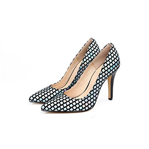 QPYC Scarpe singole delle scarpe da ginnastica delle signore New Sequins hanno suggerito la temperatura semplice della bocca di Shallow blue
