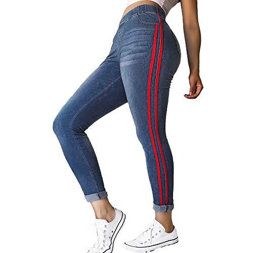 Ansenesna Hosen Damen Jeans High Waist Skinny Stretch, Seite Streifen Lang Elegant Demin Freizeithosen Mit Gummibund Eng Für Mädchen Teenager