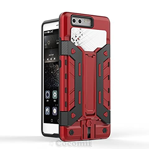 Huawei P9 Coque, Cocomii Transformer Armor NEW [Heavy Duty] Premium Built-in Multi Card Holder Kickstand Shockproof Hard Bumper Shell [Military Defender] Full Body Dual Layer Rugged Cover Case Étui Housse (Red)