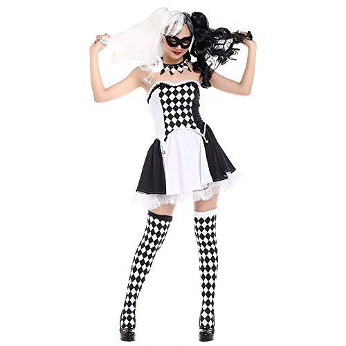 Clown Girl Kostüm Halloween - FHSIANN Teen Girls Halloween Zirkus Clown Narr Idiot Kostüm Short Tube Kleid Trick ClotHing Socken Set für Frauen