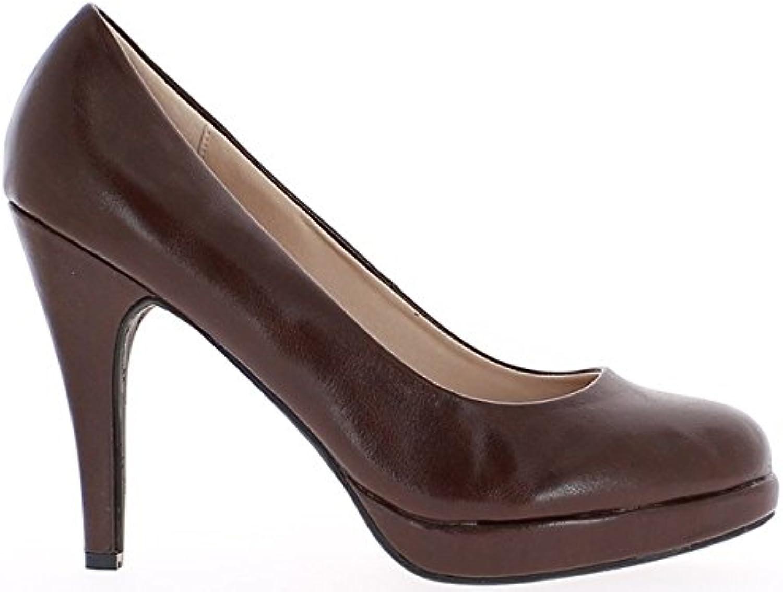 9247b1ea51f3d7 Escarpins femme grande taille taille taille marrons à talon de 12cm  et plateformeB00MK8O48OParent | Soldes a90a82