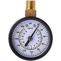 """Manómetro De Presión De Agua Aire Gas 0-200psi, 0-14 kg/cm² Manómetro De Presión De Escala Dual NPT De 1/4"""", Montaje Lateral De Latón Para Compresor De Aire Combustible Aceite Agua Gas"""