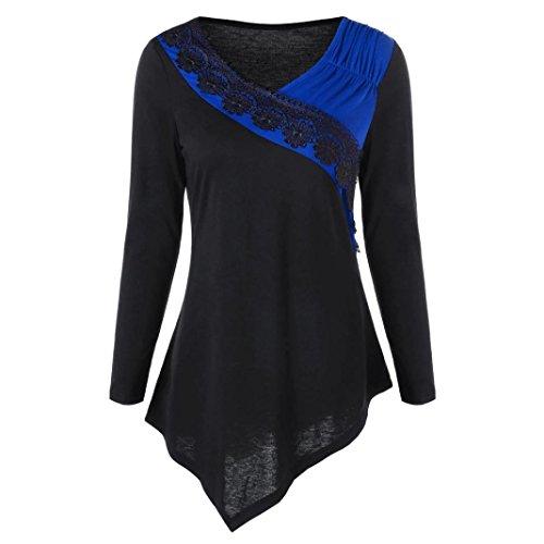 Preisvergleich Produktbild Damen Pullover,  Frauen Langarm Schlank Bluse Hemd Shirt ,  SEWORLD Mode Damen Langarm V-Ausschnitt Pullover Bluse Two Tone Lace Trim Asymmetrische Oberteile (Blau,  M)