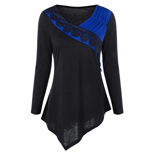 Damen Pullover, Frauen Langarm Schlank Bluse Hemd Shirt , SEWORLD Mode Damen Langarm V-Ausschnitt Pullover Bluse Two Tone Lace Trim Asymmetrische Oberteile (Blau, M) (Trim Pullover)