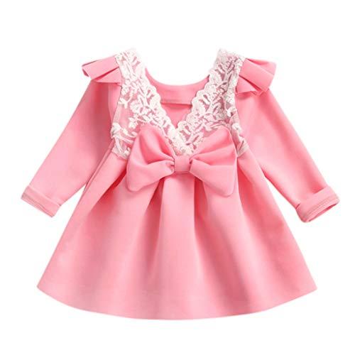 HEETEY Kleinkind scherzt Baby-Mädchen-Bogen Prinzessin Lace Floral Dress Outfits Kleidung Lange Ärmel fliegen Ärmel Bogen Spitze Prinzessin Kleid Sequin Lace Rock Set