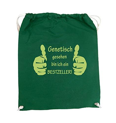 Comedy Bags - Genetisch BESTZELLER - HÄNDE - Turnbeutel - 37x46cm - Farbe: Schwarz / Silber Grün / Grün