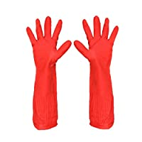 MaylFre Rubber Cleaning Gloves with Cotton Lining Reusable Kitchen Dishwashing Glove Waterproof for Household Red 1pair