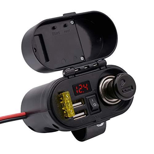 Kriogor 3A/5V 2 Ports USB Steckdose+ Zigarettenanzünder+ 20A Sicherungshalter+ Spannung Voltmeter + EIN/Ausschalter für 12V Motorrad Auto Boot ATV