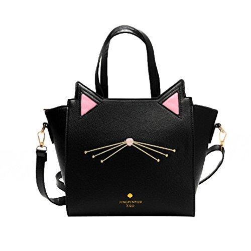 BYSTE Grande Capacità borsetta Lovely Donna Orecchio di gatto Borsa a tracolla Messenger Bag Nero