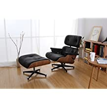 Brio Home Works Walnut And Black Leather Eames Style Lounge Chair U0026 Ottoman