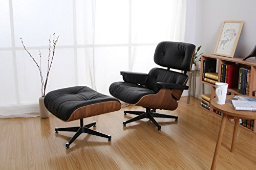 Brio Home Works Walnut and Black Leather Eames Style Lounge Chair & Ottoman (Und Chair Lounge Ottoman)