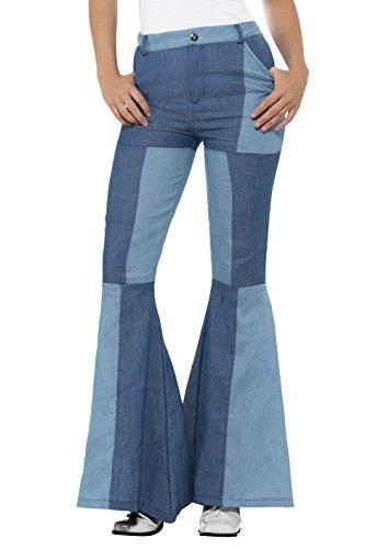 Smiffy'S 21476M Pantalones Acampanados Deluxe Para Mujer Retales Vaqueros, Azul, M - Eu Tamaño 40-42