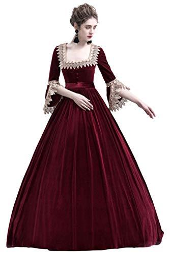 Damen Prinzessin Kleid mit hohem Taille,Langarm Mittelalter Kleid-Gothic Viktorianischen Königin Kostüm mit Schnürung und Spitze