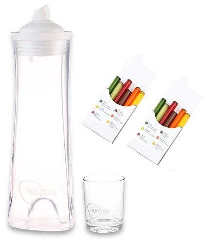 nuapua Glaskaraffe 750ml + Trinkglas | Innovatives Trinksystem mit Geschmack Inkl. 2x6 Geschmackskapseln | Vegan und für Diabetiker geeignet | Ideal für Daheim, Arbeit oder Schule | Farbe: weiß (Mango-vanille-extrakt)
