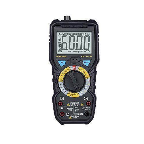 Multimètre Numérique Portable Professionnel avec Double Fusibles Ecran LCD Rétroéclairé TRMS 6000 Points pour Tester Voltage AC/DC Courant DC Résistance Continuité Diodes Température NCV (style 1)