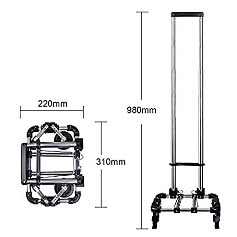 Miyare Foldable Hand-Pulled Shopping Trolley Dolly Grocery Cart Portable Push Truck Luggage Aluminum Alloy Saving Labor Supermarket Luggage Cart Household