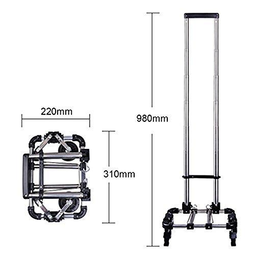 Miyare Edelstahl Faltbare Warenkorb Portable Trolley Wagen/Trolley/Haushalt/Kleine Trailer Wagen/kaufen Lebensmittel für die ältere (schwarz)