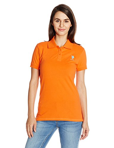 US POLO Women's Band Collar T-Shirt (UWTS0551_Nectarine_X-Large)  available at amazon for Rs.999