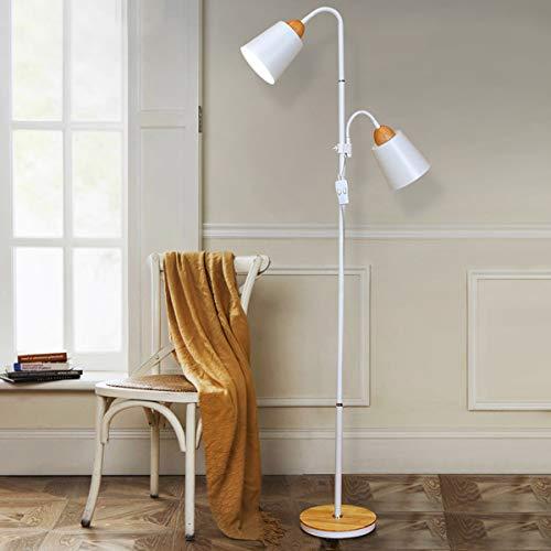 LAMPES DE PLANCHER TORCHIERES ZXC YWXLight - Lampadaire vertical à double tête à levage haut et bas (Couleur : Blanc)