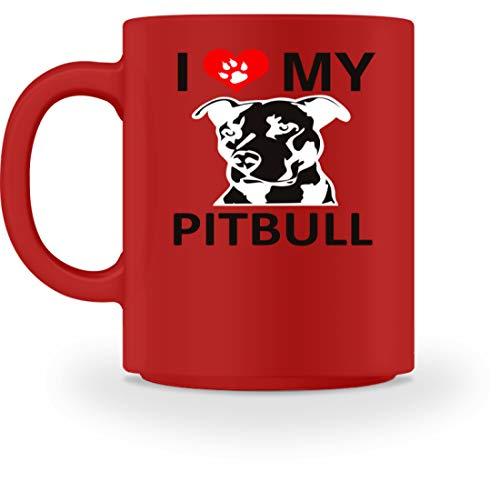 generisch I Love My Pitbull - Pfote mit Herz - Tasse -M-Rot