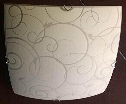 Praktische Deckenleuchte Metall weiß Glas opal satiniert mit Ornamentik Globo MAVERICK 40491-3 - Glas Maverick