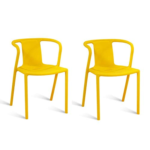mmerstuhl aus Kunststoff Home Sessel Küche Lounge Candy Color Pack 2 Stück Set Stapelstuhl (Farbe : Gelb) ()