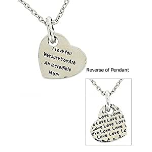 TOC Silvertone 'I Love U...Incredible Mom' Heart Pendant On 18 Inch Chain