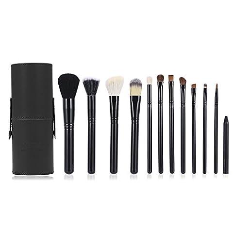 Maquillage Pinceaux, Luxebell maquillage professionnel Kit Brush Set 12PCS Cosmétique Blending Fard à Paupières Fondation Concealer Brushes Poudre Tool (Noir)