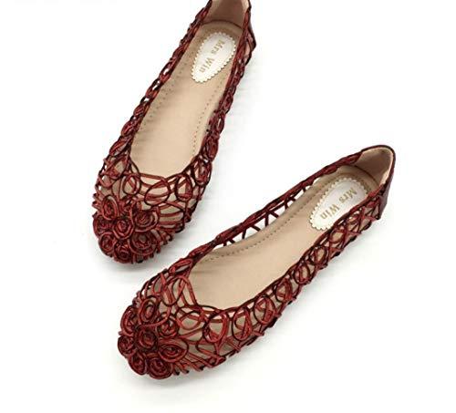 Damen Flower Hollow Out Loafers Flache Sandalen Closed Toe Slip on Sandale Weiche atmungsaktive Sommer Freizeitschuhe Sofft Slip Heels