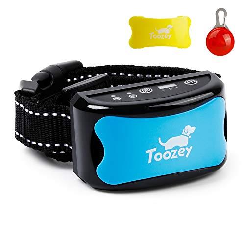 Toozey Antibell Halsband für Hund, 3 in 1 USB Wiederaufladbar & Einstellbar Vibrationshalsband für Kleine bis Groß Hunde, Sicher & Automatisch Erziehungshalsband mit Leuchtanhänger & Training E-Book