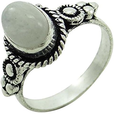 Banithani plata plateado piedra partido lunar anillo de Desgaste indio regalo de Joyería hermosa para Ella