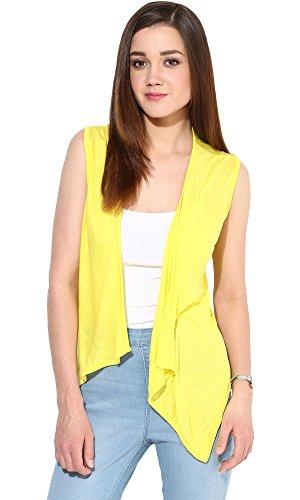 Trend18 Viscose Yellow Sleeveless Waterfall shrug - Yellow Medium  available at amazon for Rs.199