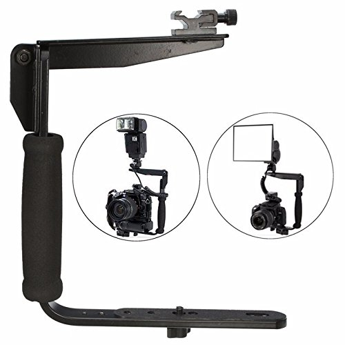 Flash Bracket Grip (MASUNN Black Quick Flip Flash Bracket Grip Kamera Flash Arm Halter Für Nikon Canon Dslr)