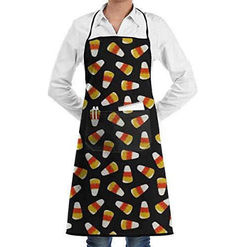 Drempad Schürzen Halloween Candy Corn Adjustable Bib Apron with Pockets Cooking Kitchen Aprons for Cooking Baking Kitchen Restaurant Crafting (Kinder Halloween-lebensmittel-handwerk Für)