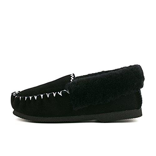 Shenduo - Mocassins fourrées de mouton femme, Bottes & Boots basses confort doublure chaude de laine D9529 Noir