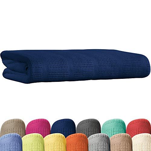 Erwin Müller Sommerdecke, Baumwolldecke - 100% Baumwolle Marine Größe 150x200 cm - atmungsaktiv, weiche Qualität, luftig leicht, hautfreundlich - (weitere Farben, Größen)