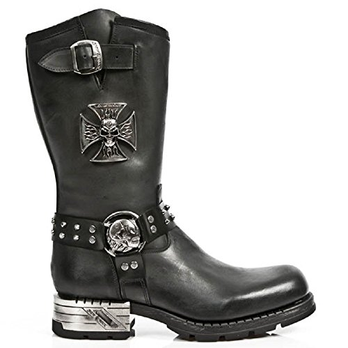 NEWROCK New Rock M.MR030 -S1 Strap teschio di metallo gotico Stivali Moto pelle42