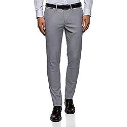 oodji Ultra Hombre Pantalones Slim con Pinzas, Gris, ES 40 (M)