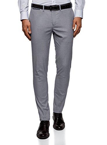 oodji Ultra Hombre Pantalones Slim con Pinzas, Gris, ES 44 (L)