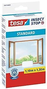 tesa Fliegengitter für Fenster, Standard Qualität, weiß, leichter Sichtschutz, 1,1m x 1,3m
