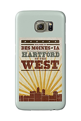 Des Moines, Iowa - Skyline and Sunburst Screenprint Style (Galaxy S6 Cell Phone Case, Slim Barely There) (Des Moines Skyline)