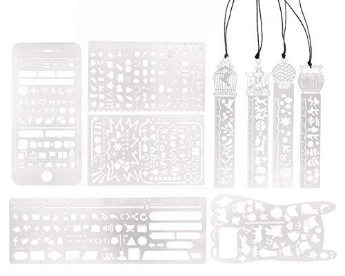 9/Set Multi Funktions Creative Hollow Out Metall Edelstahl Graffiti/Alphabet/Zahlen Lineal Schulbedarf für Studenten Hand Zeichnen Konto Vorlage DIY Tagebuch Grafiken Design Lesezeichen-Lineal