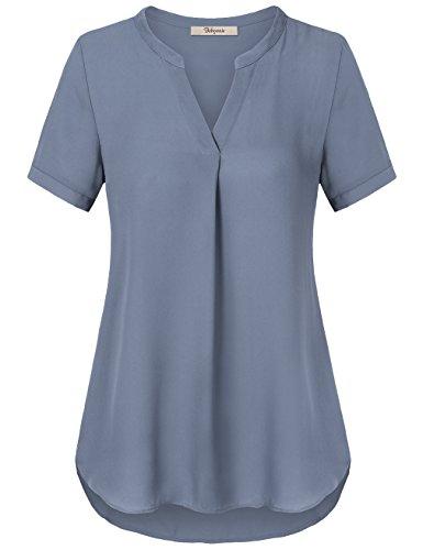 Chiffon Bluse,Bebonnie V-Ausschnitt Durchgefärbtes Shirt mit Kurzarm und Falten Berufs-Tops Blau Grau,Größe L