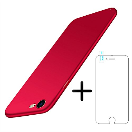 Étui iPhone 6 / 6S avec écran de protection en verre tempéré, Blossom01 Étui Ultral Thin Slim Fit, étui mate convient à l'étui rigide Anti Scratch pour étui Apple iPhone 6 / 6S - Or Rouge