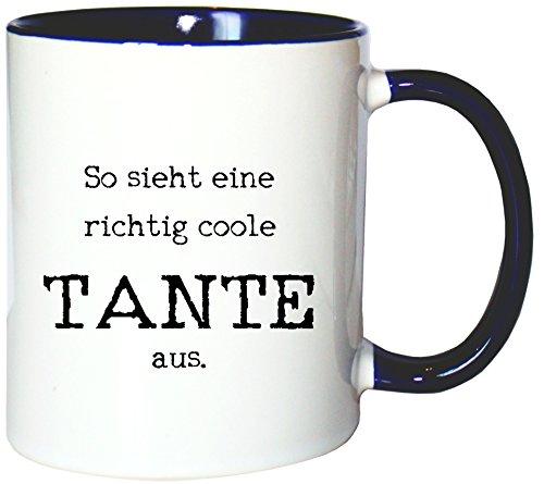 Mister Merchandise Kaffeetasse Becher So Sieht eine richtig Coole Tante aus Aunt, Farbe: Weiß-Blau