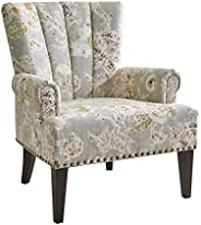 Home CanvasLARRY Scroll Classic Armchair [Beige] Living Room Chair - Printed Fabric, Pleated Design, Nail Deta
