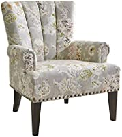 Home CanvasLARRY Scroll Classic Armchair [Beige] Living Room Chair - Printed Fabric, Pleated Design, Nail Detailing |...