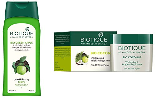 Biotique Green Apple Shampoo And Conditioner, 400ml and Biotique Bio Coconut Whitening And Brightening Cream, 50g
